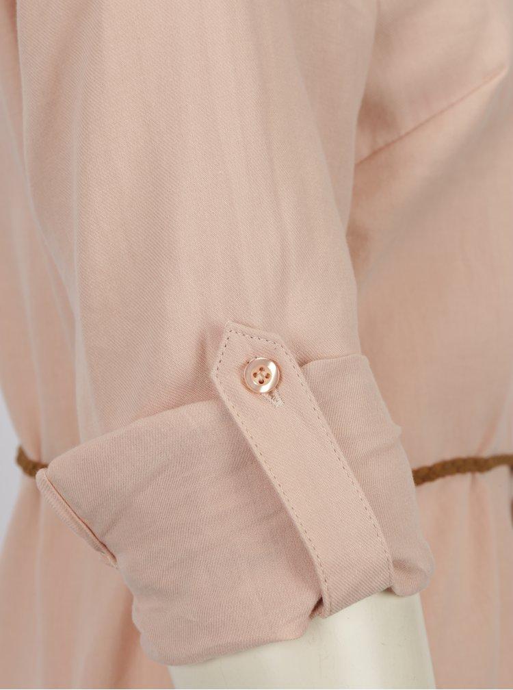 Světle růžová dlouhá košile s páskem Haily´s Larissa