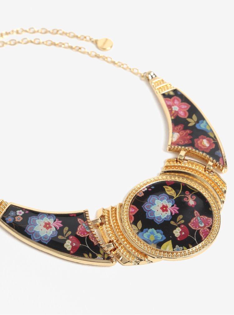 Květovaný náhrdelník ve zlaté barvě Desigual
