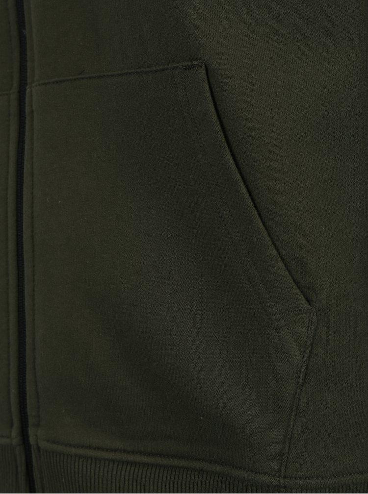 Tmavě zelená mikina na zip Burton Menswear London