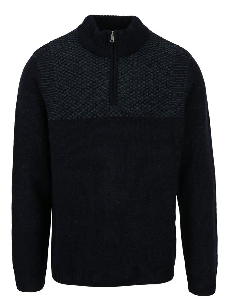 Tmavě modrý svetr se stojáčkem Burton Menswear London