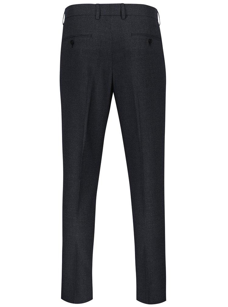 Modré oblekové skinny kalhoty s jemným vzorem Burton Menswear London