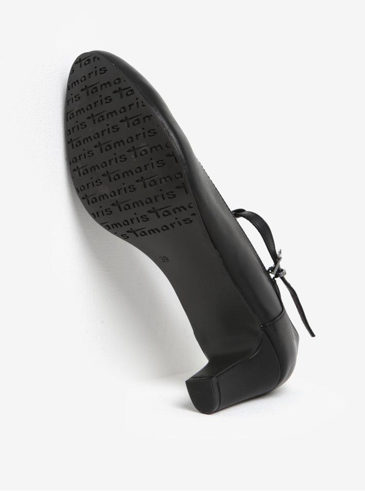 Černé kožené lodičky Tamaris