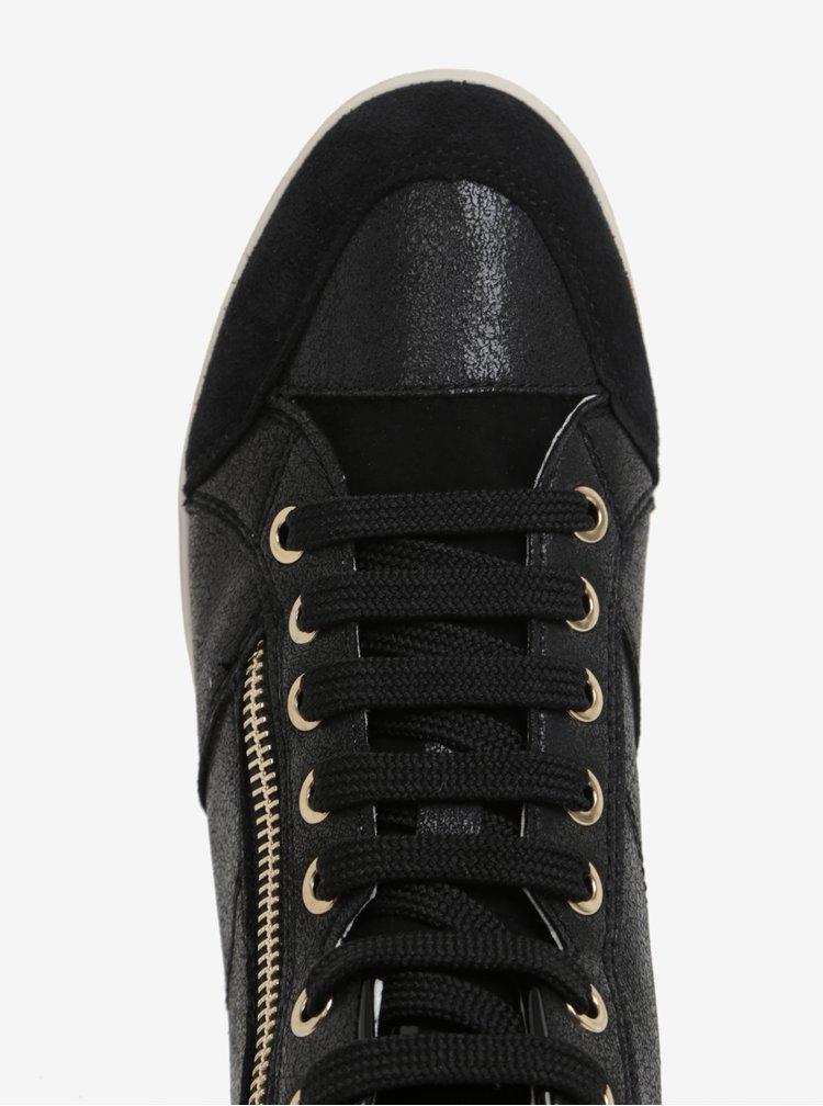 Černé dámské kožené kotníkové tenisky Geox Myria