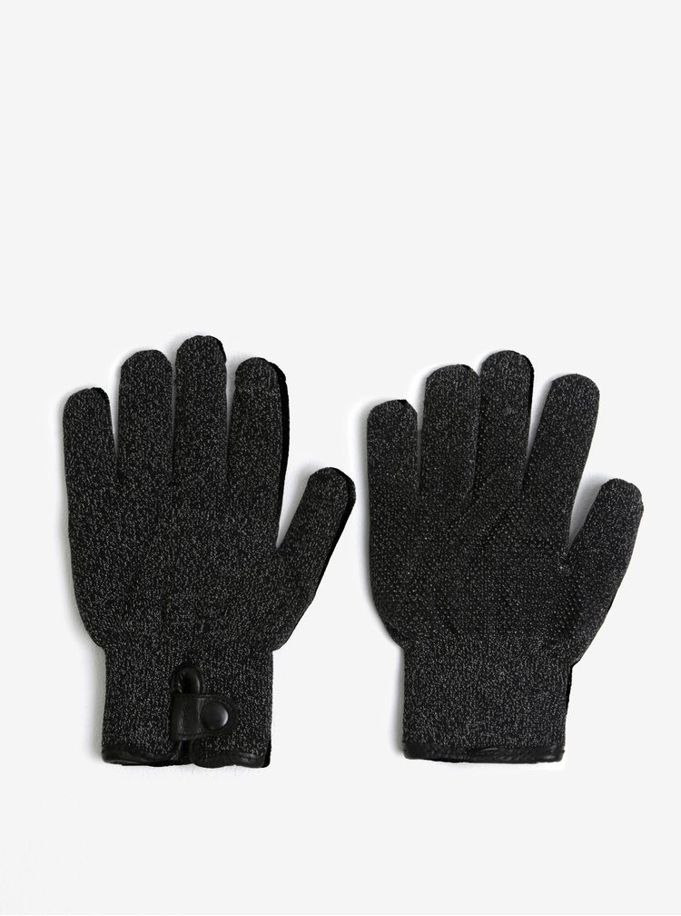 Manusi negru melanj unisex functionale pe touch-screen - Mujjo