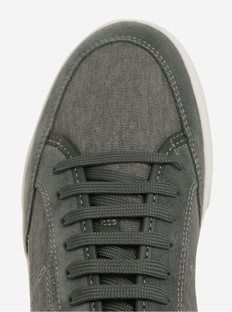 Pantofi sport verzi cu piele intoarsa pentru barbati Geox Walee