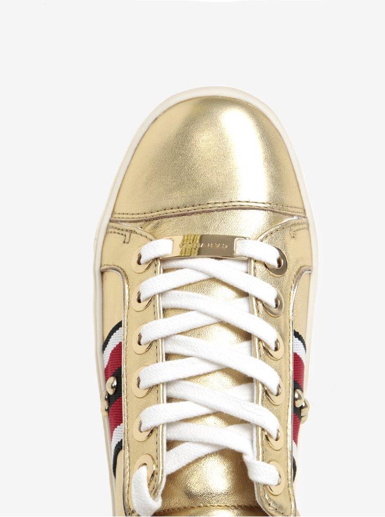 Metalické kožené tenisky ve zlaté barvě na platformě Carvela Kurt Geiger Lax NP