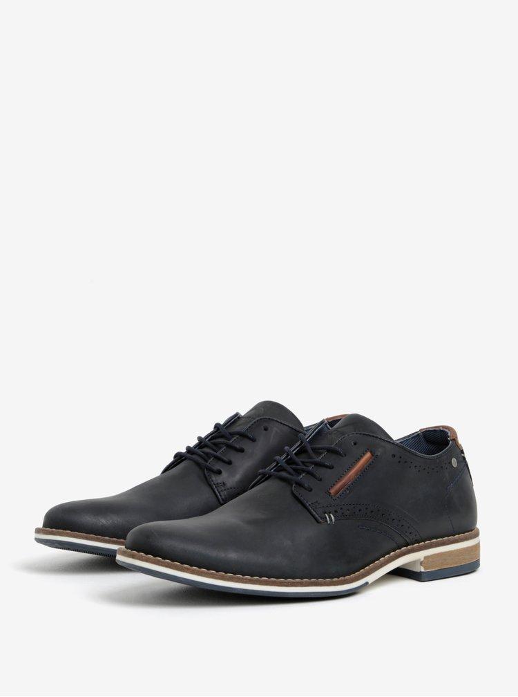Pantofi bleumarin din piele cu perforatii pentru barbati  Dune London Brewer