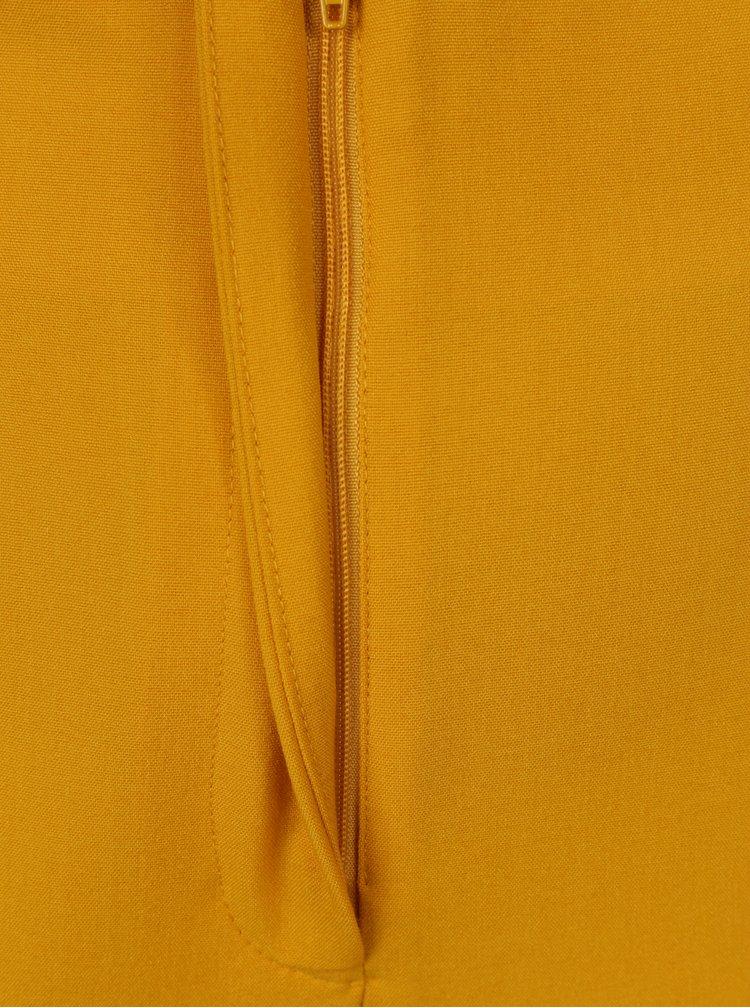 Hořčicové zkrácené kalhoty se zavazováním v pase Miss Selfridge