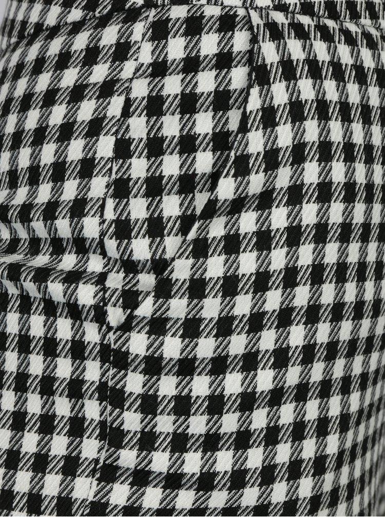 Krémovo-čierne kockované nohavice s čipkou Miss Selfridge