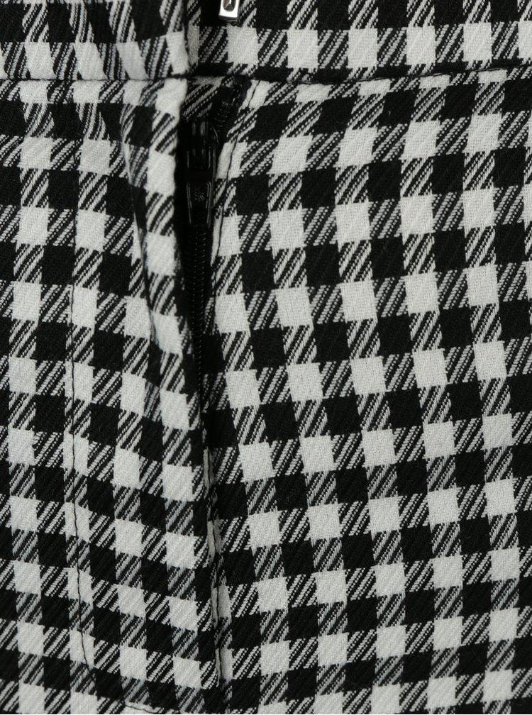 Pantaloni cropped negri in carouri cu dantela Miss Selfridge