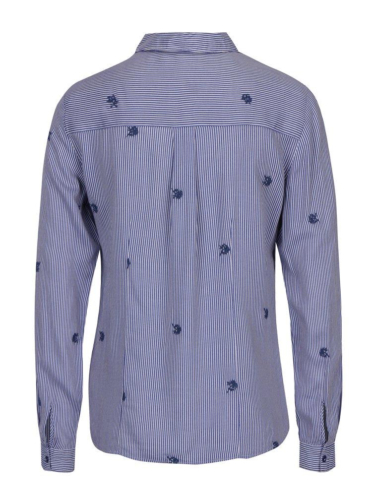 Modrá pruhovaná košile s výšivkami M&Co