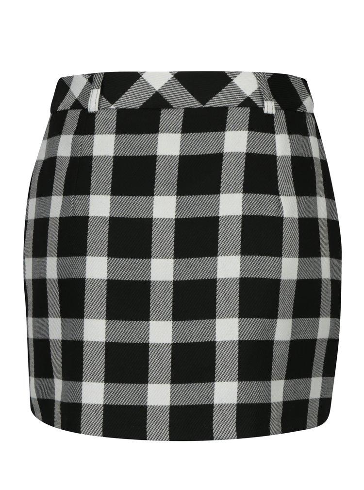 Bílo-černá kostkovaná minisukně Miss Selfridge