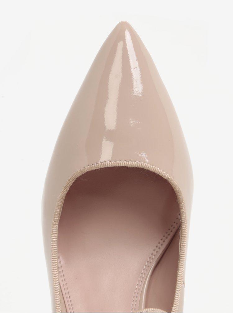 Pantofi roz pal cu bareta si aspect lacuit Dune London Abbey