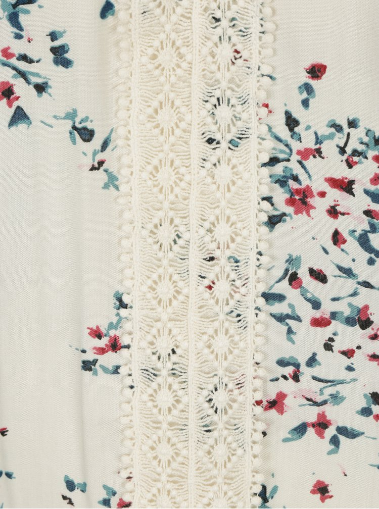 Krémová květovaná halenka s průsvitným sedlem M&Co