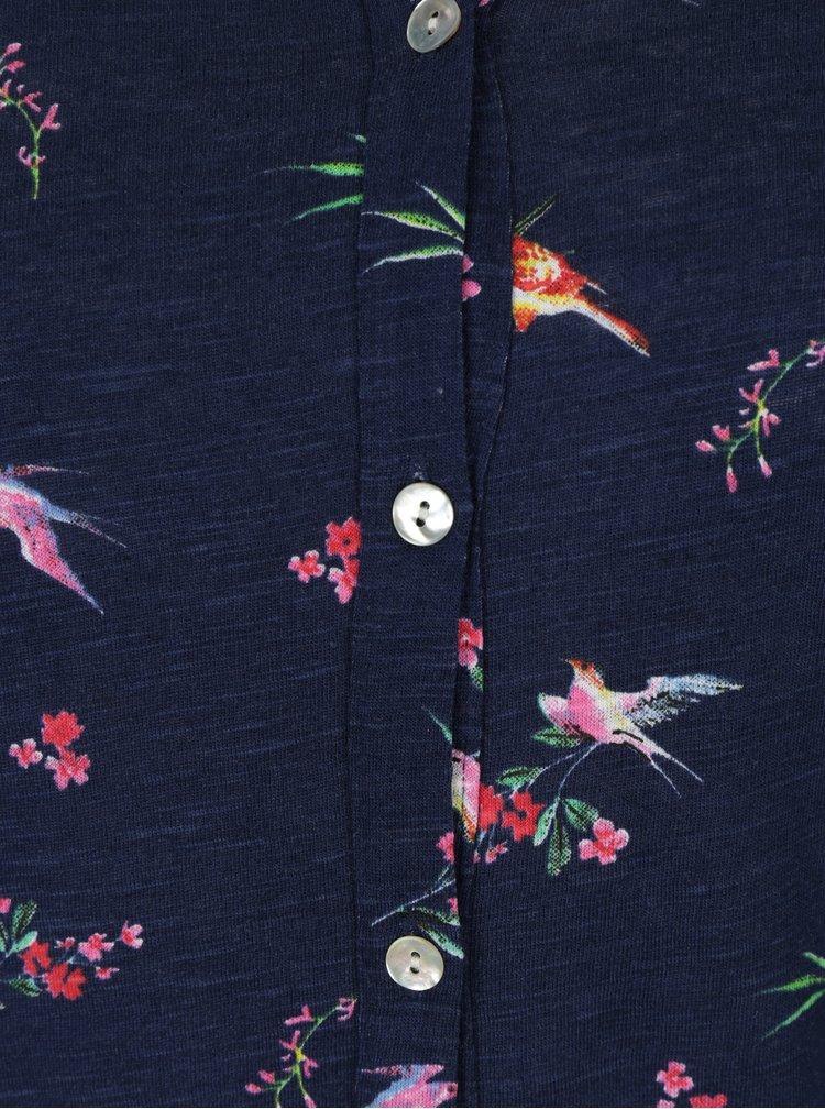 Bluza bleumarin din bumbac cu print floral -  M&Co