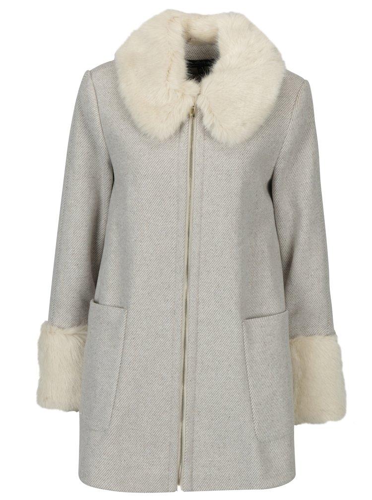 Béžový pruhovaný kabát s umělou kožešinou Miss Selfridge