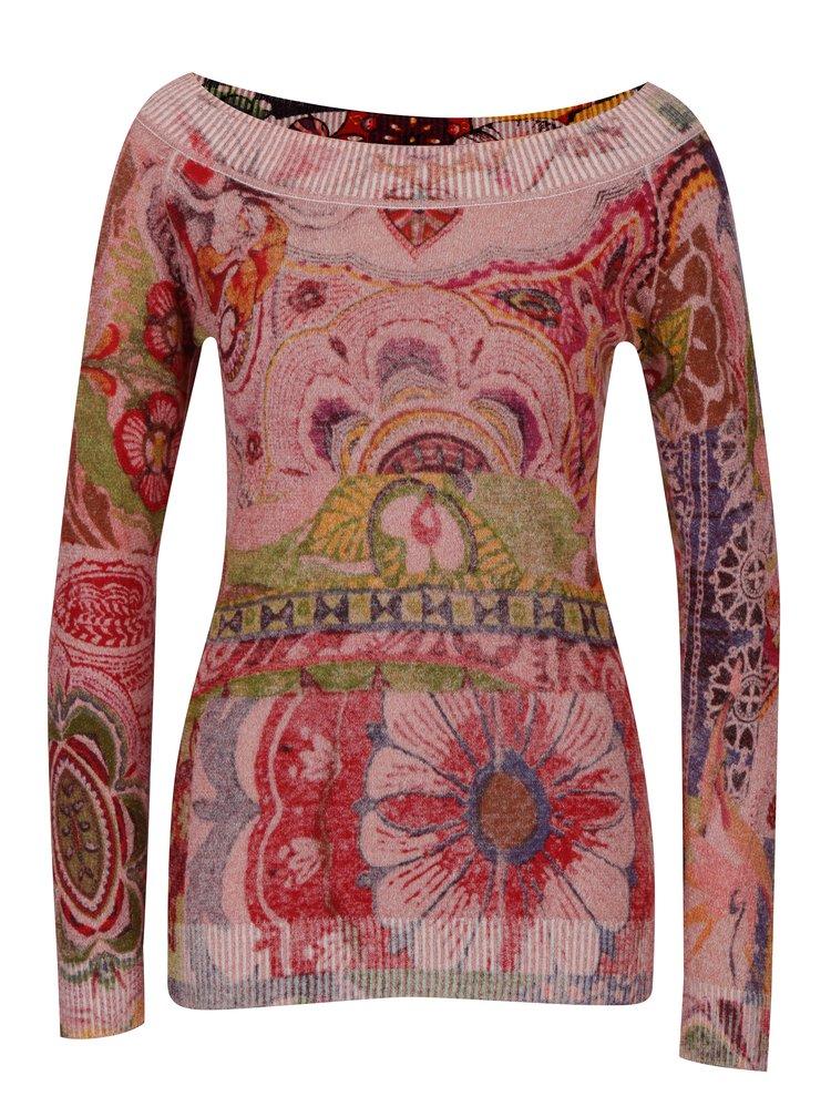 Růžový vzorovaný svetr s lodičkovým výstřihem Desigual Purpura