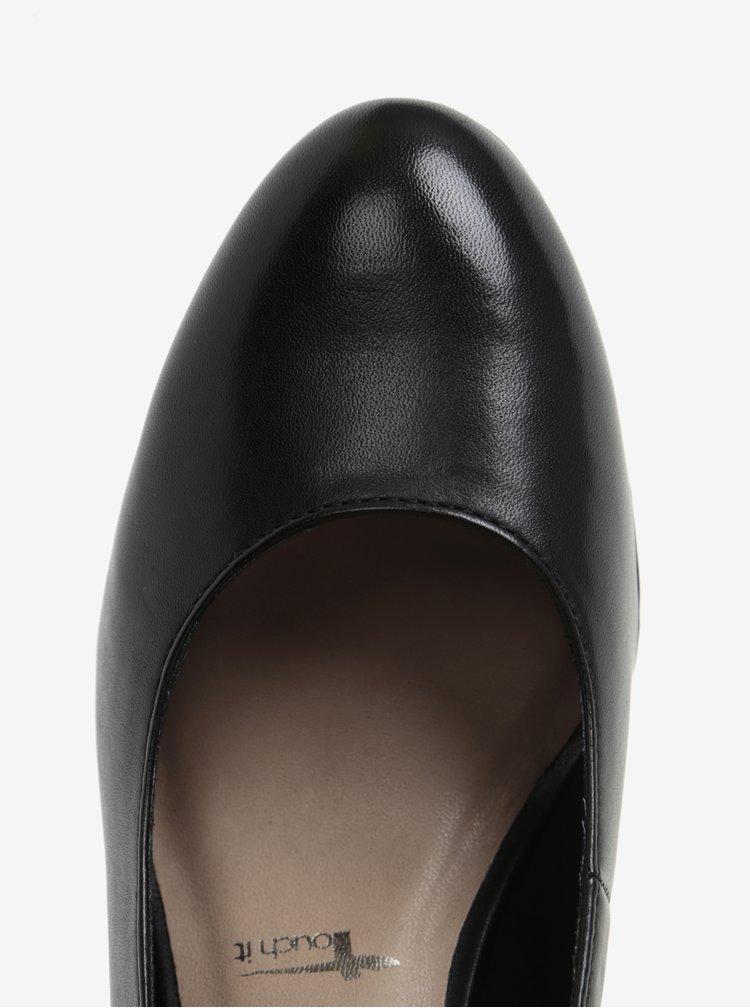 Černé kožené lodičky na podpatku Tamaris