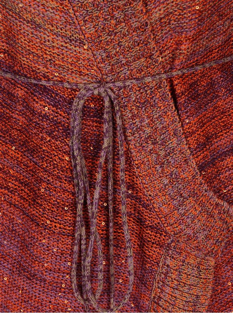 Oranžový vzorovaný kardigan s vázáním v pase Desigual Identity