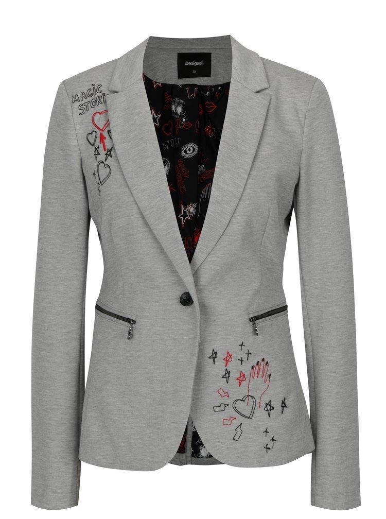 Šedé žíhané sako s výšivkou Desigual Mauricette