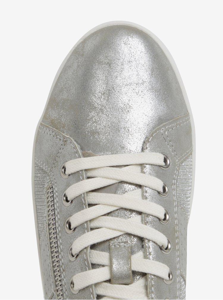 Tenisky ve stříbrné barvě s ozdobným zipem Tamaris