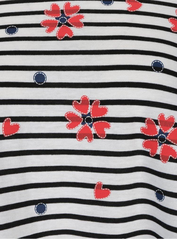 Bluza crem in dungi cu print floral si volan Desigual Symphony
