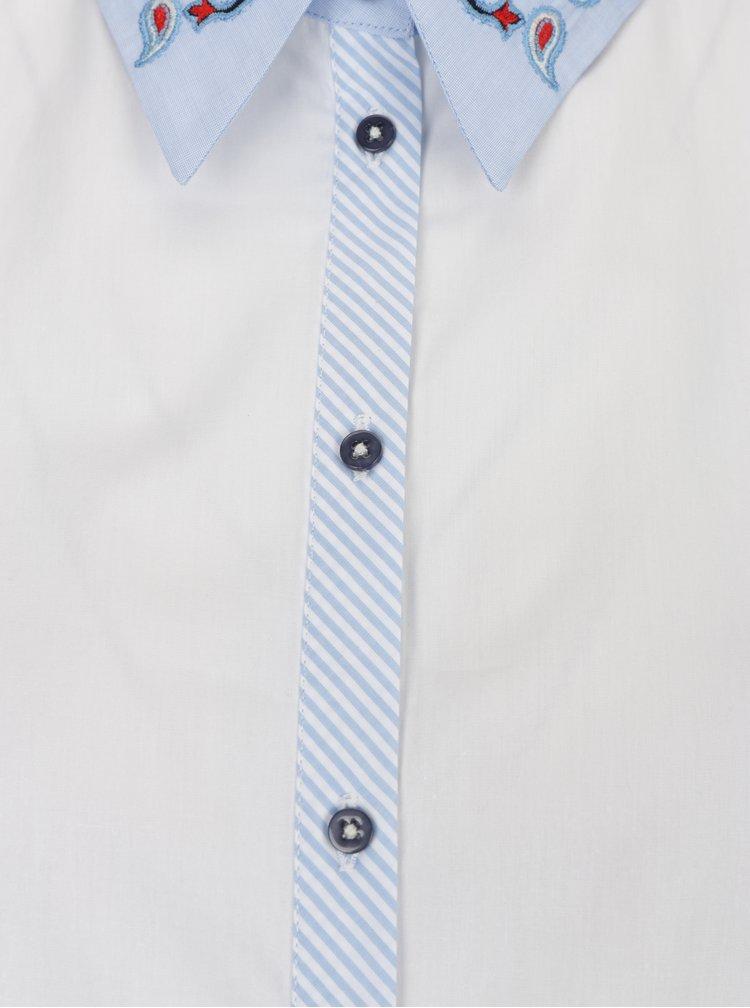 Modro-biela košeľa s výšivkou Desigual Liliane