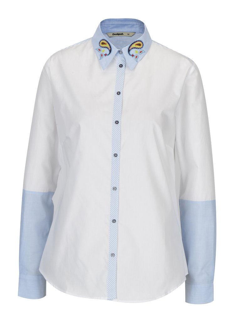 Modro-bílá košile s výšivkou Desigual Liliane