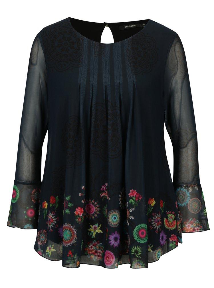 Bluza bleumarin cu print floral si maneci clopot Desigual Chruse