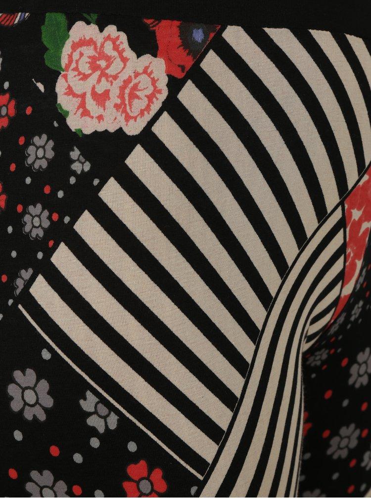 Krémovo-černé vzorované legíny Desigual Mendoza