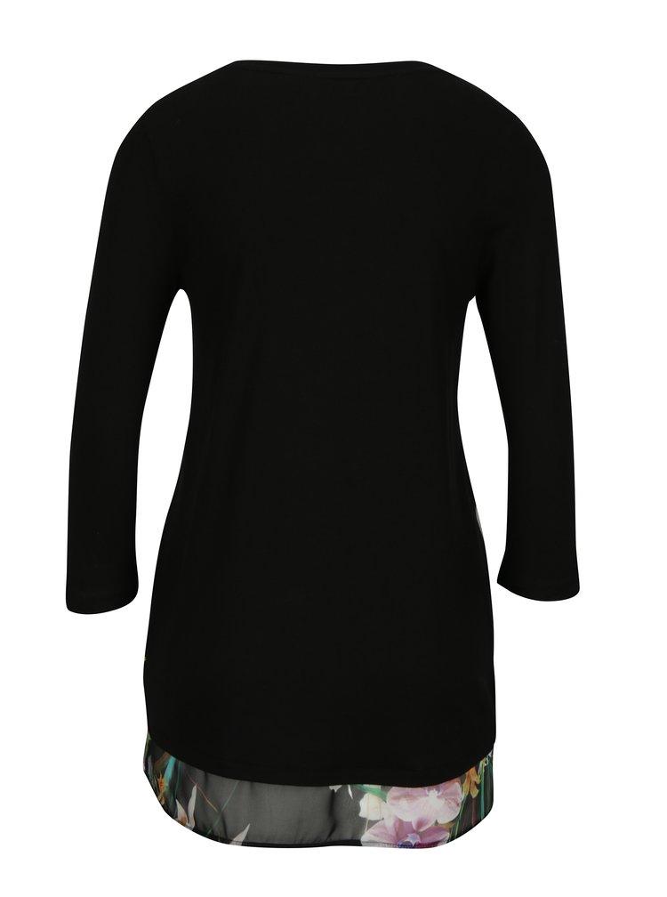 Černé vzorované tričko s dlouhým rukávem Desigual Courtney