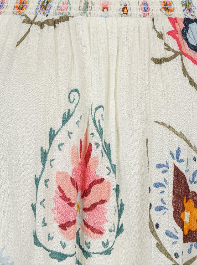 Krémová vzorovaná halenka s odhalenými rameny Desigual Minor