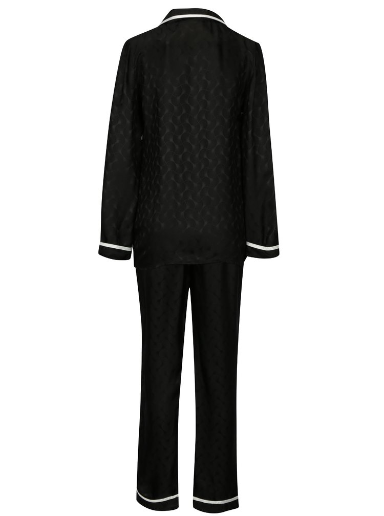 Černé hedvábné pyžamo La femme MiMi