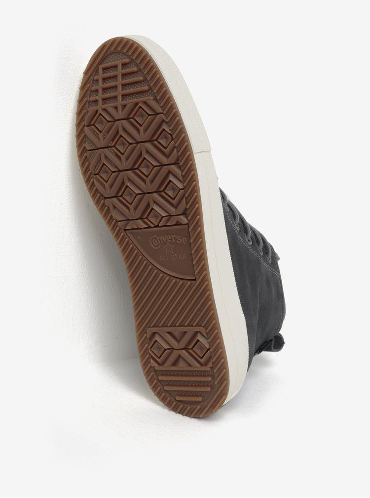Šedé pánské kožené kotníkové tenisky Converse Chuck Taylor Lunarlon