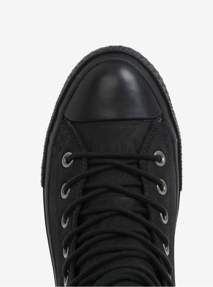 Černé pánské kožené kotníkové tenisky Converse Chuck Taylor Lunalron