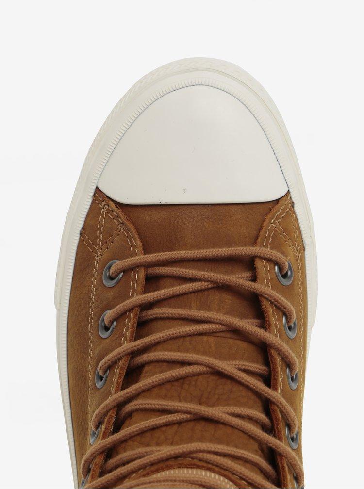 Hnědé pánské kožené kotníkové tenisky Converse Chuck Taylor Lunarlon