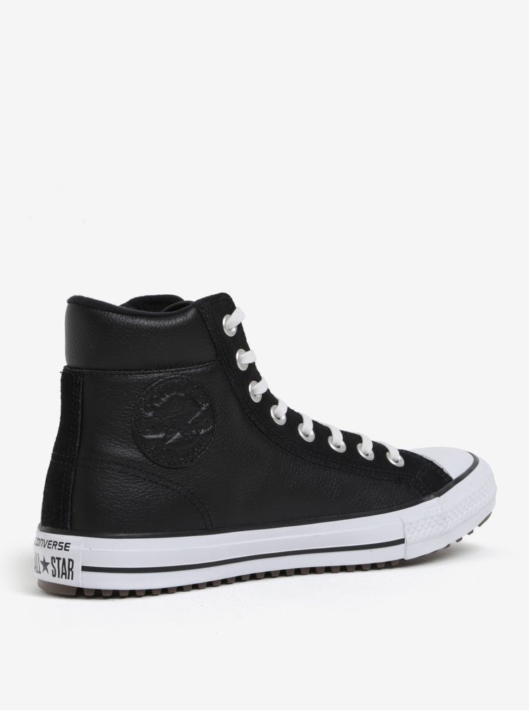 Černé pánské kotníkové kožené tenisky Converse Chuck Taylor