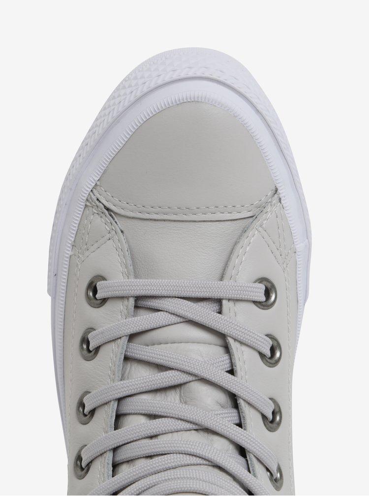 Béžové dámské kožené kotníkové tenisky Converse Chuck Taylor Lunarlon