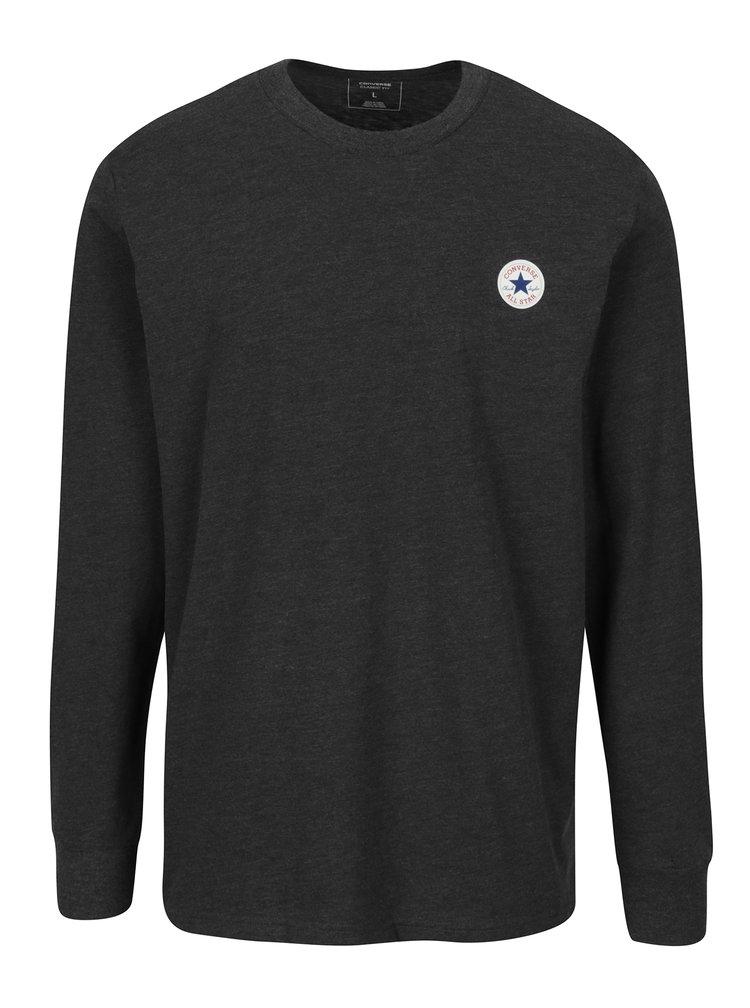 Tmavě šedé pánské žíhané tričko s dlouhým rukávem Converse Tee Cuff