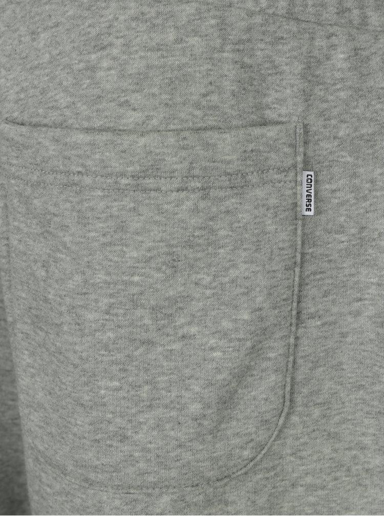 Světle šedé žíhané pánské tepláky s kapsami Converse Core