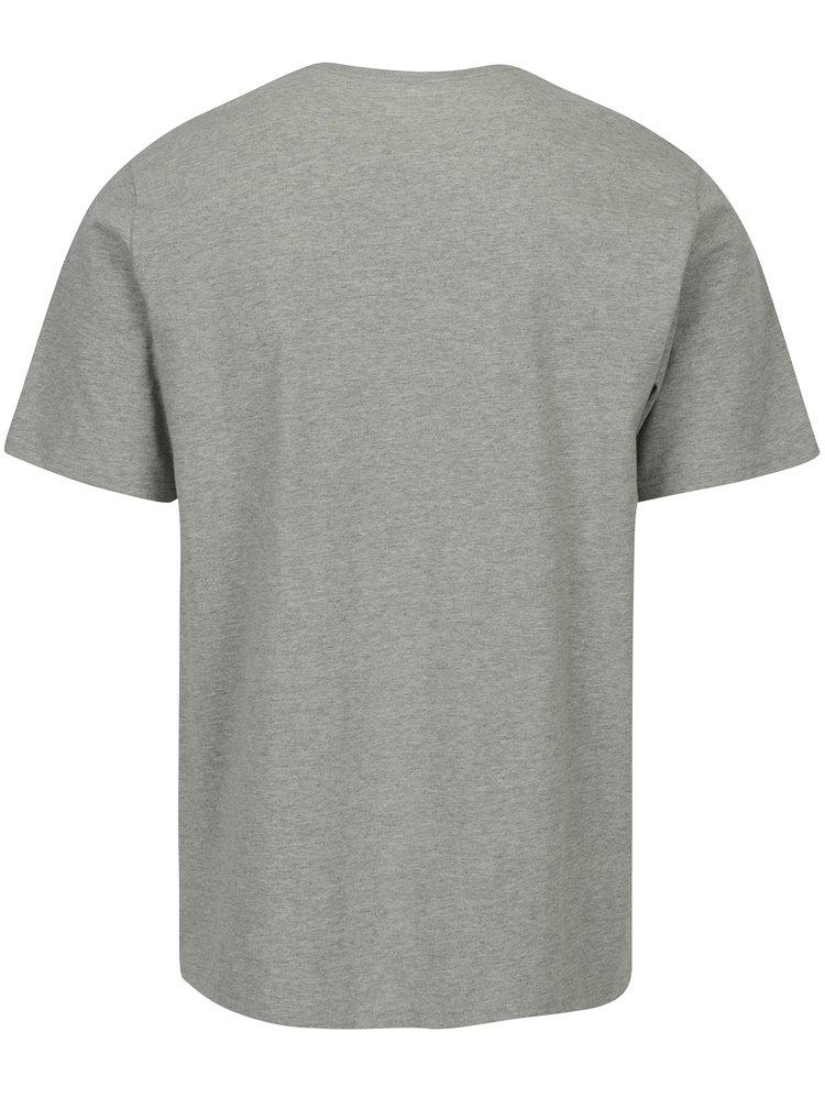 Šedé pánské žíhané tričko s potiskem Converse Dimensional Layer Chuckpatch