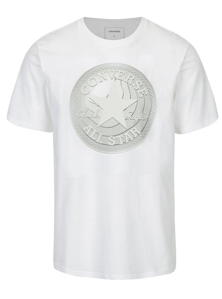 Bílé pánské tričko s potiskem Converse Dimensional Layer Chuckpatch