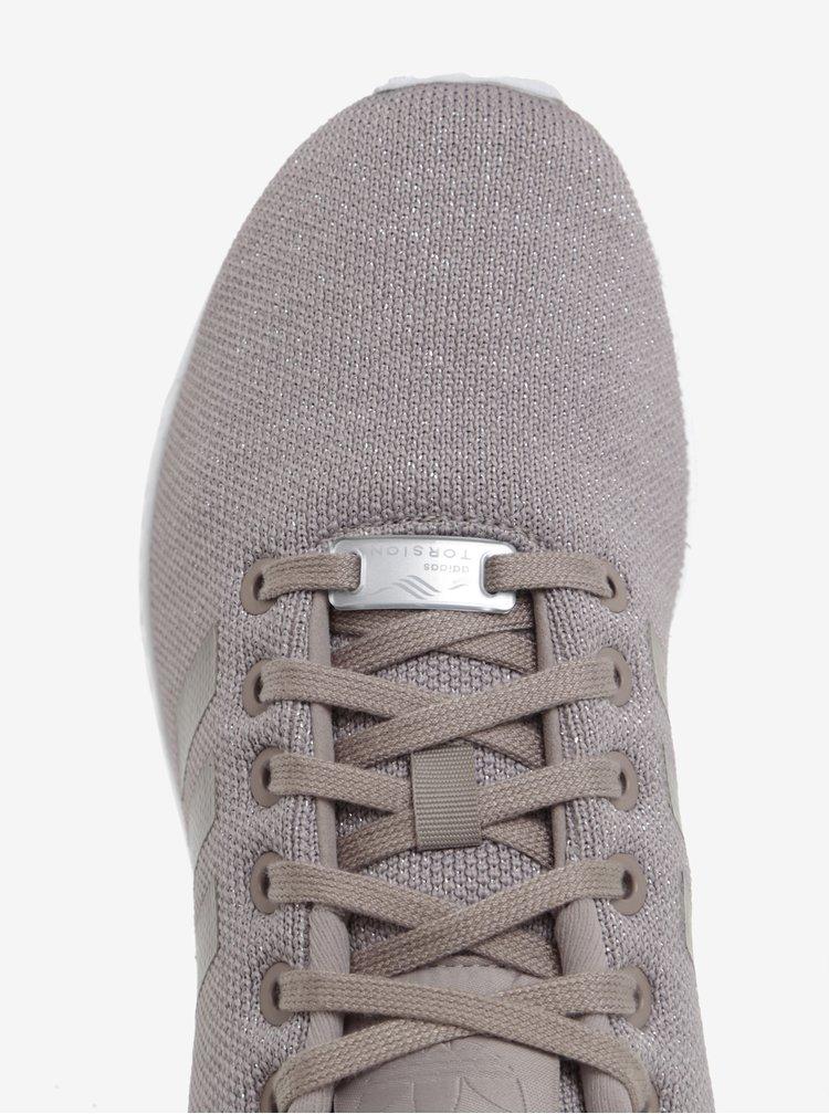 Béžové dámské tenisky s třpytivým efektem adidas Originals ZX Flux
