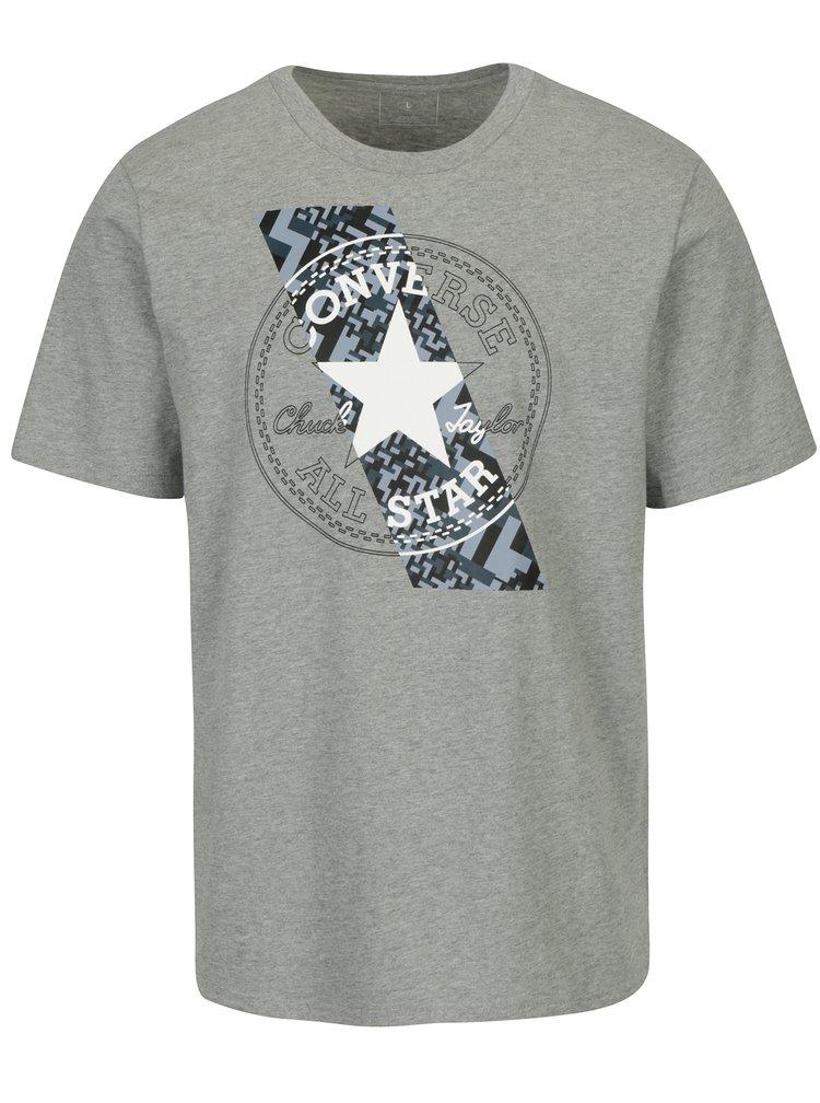 Šedé pánské tričko s krátkým rukávem Converse Chuckpatch
