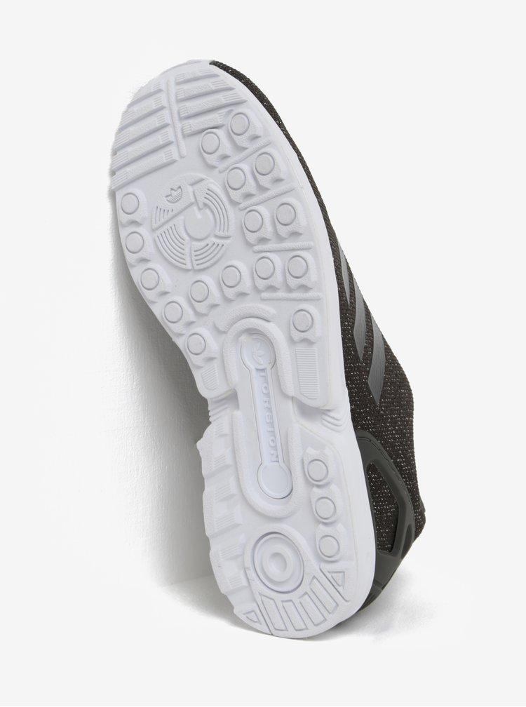 Pantofi sport pentru alergat kaki cu insertii argntii pentru femei - adidas Originals ZX Flux