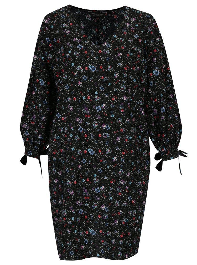 Černé květované šaty s dlouhým rukávem Dorothy Perkins Curve