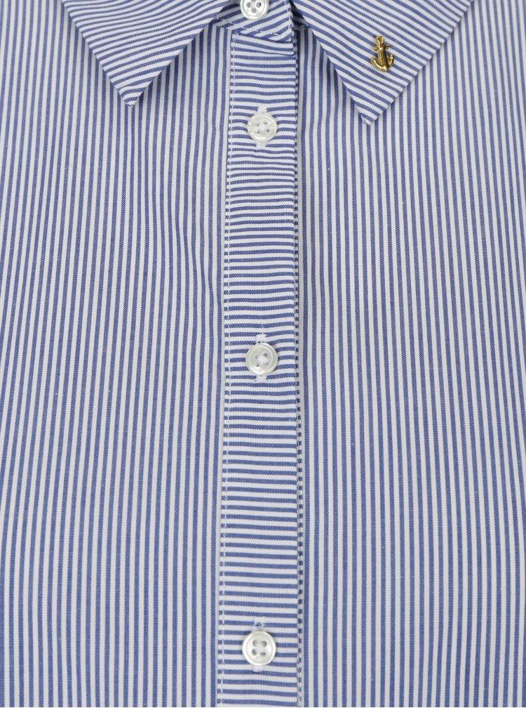 Bílo-modrá oversize pruhovaná košile s 3/4 rukávem Scotch & Soda