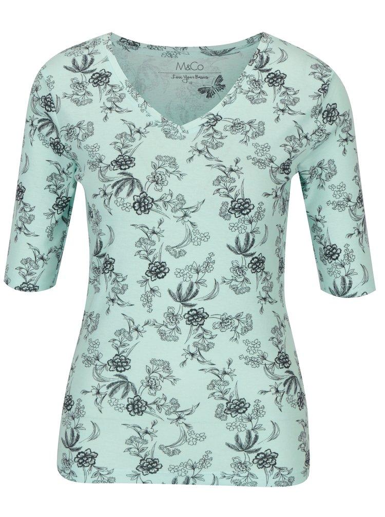 Tricou verde mentol cu print - M&Co