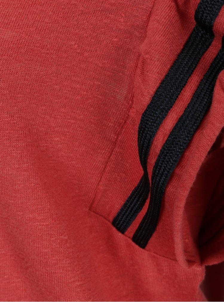 Cihlové lněné tričko s volánky a pruhy v oblasti rukávů Scotch & Soda