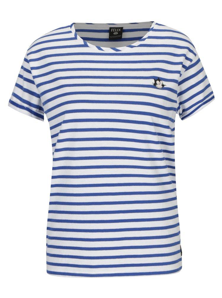 Modro-bílé pruhované tričko s nášivkou Scotch & Soda
